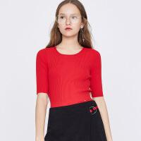 红袖镂空系带圆领套头针织衫