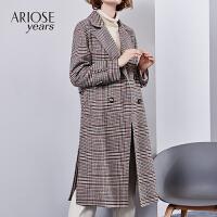 艾诺丝雅诗冬装新款毛呢大衣女宽松羊毛双面呢中长款呢子外套