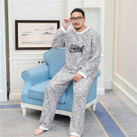 家居服大码男士冬季睡衣新品长袖两件套装情侣棉汗蒸服保暖新款 白色