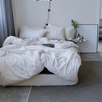 北欧极简风棉1.5/1.8米床单四件套小清新单人被套床笠 大理石 粉