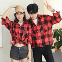青少年韩版花格子男士衬衣宽松寸衫长袖情侣衬衫外套潮流秋装衣服
