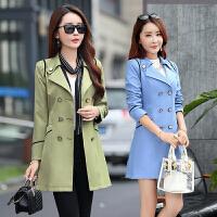 春装韩版女式风衣中长款修身20-30到40岁双排扣西装气质50岁外套