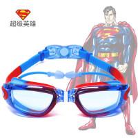 儿童泳镜超人闪电侠蝙蝠侠男女童大框高清防水防雾游泳眼镜