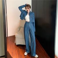 短款休闲牛仔外套女2021春秋新款宽松复古韩版小个子长袖开衫上衣