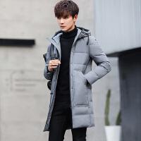 冬季反季轻薄羽绒服男中长款修身青少年韩版连帽男装外套