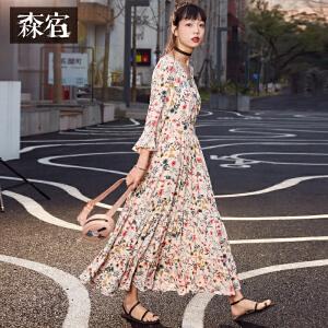 森宿夏装2018新款文艺碎花V领雪纺连衣裙女