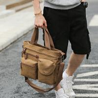 韩版休闲男包帆布包单肩斜挎包手提包 商务男士公文包电脑包