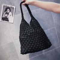 超火包包女2018新款手提包镂空购物袋夏天编织渔网单肩包
