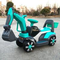 新款儿童挖掘机可坐可骑大号电动挖土机钩机男孩玩具挖挖机1-6岁 蓝色 滑行款+音乐彩灯 官方标配