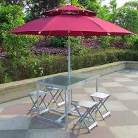 户外铝合金折叠桌椅便携式餐桌遮阳伞套装桌烧烤摆摊桌子