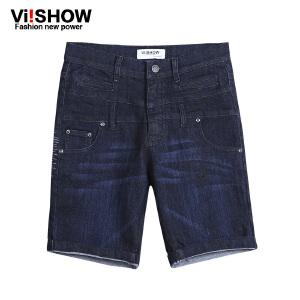 viishow夏装新款牛仔短裤 欧美街头牛仔五分裤 中裤深色男裤