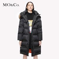 MOCO2019秋季新品中长款毛领连帽时尚羽绒外套MAI3EIN004 摩安珂