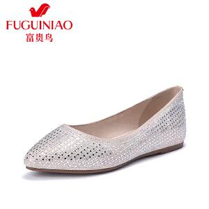 富贵鸟浅口单女鞋尖头超纤水钻平底女鞋套脚内增高女鞋