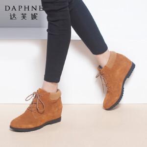 达芙妮女靴秋冬季棉靴时尚百搭休闲圆头平底内增高系带女短靴女鞋