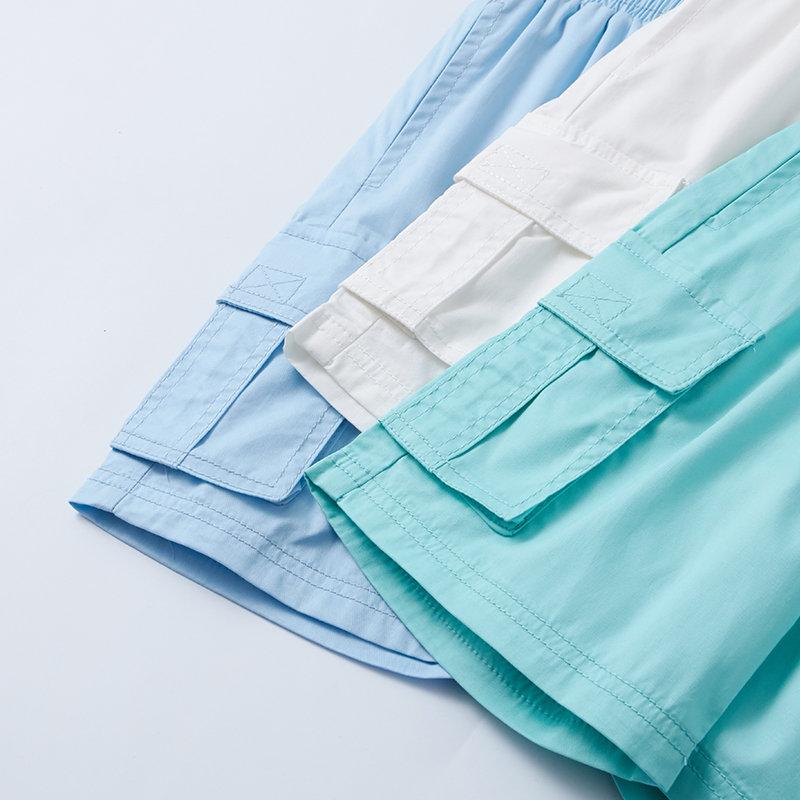 AMII童装2017夏新款男童绣花休闲裤中大童儿童纯色纯棉运动短裤.