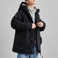 【1折价99.9元】唐狮冬装新款棉衣男中长款港风学生厚棉袄净色连帽潮流