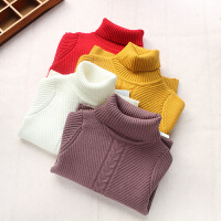 女童高领毛衣加厚套头衫秋冬新款螺纹针织衫羊毛衫保暖打底衫