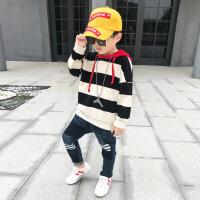 男童卫衣潮款春秋2018新款韩版中大童连帽上衣儿童长袖t恤条纹男