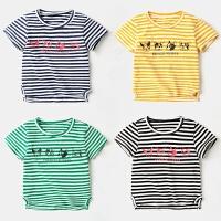 宝宝条纹T恤1岁3男童女童短袖上衣夏装纯棉4儿童体恤半袖