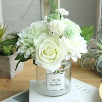 仿真玫瑰花束 欧式高客厅卧室办公桌装饰摆件假花绢花插花小盆栽
