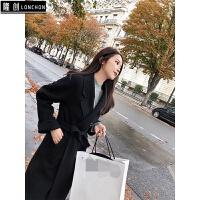 2017秋冬新款韩版斗篷中长款显瘦羊绒毛双面毛呢子大衣外套女