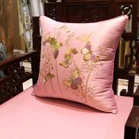 新中式抱枕刺绣花鸟靠垫真皮沙发靠背床头汽车靠包椅腰靠枕大含芯 45x45cm (外套+内芯)