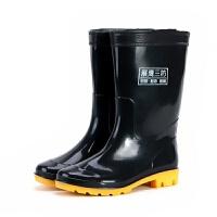 中高筒雨鞋男雨靴套鞋耐酸碱水靴牛筋底劳保胶靴工矿雨鞋