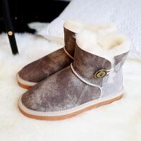 尤萨短筒雪地靴女冬季羊皮毛一体平跟保暖短靴女搭扣棉鞋靴子女