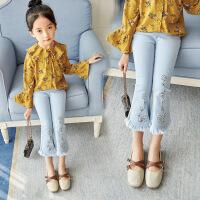 女童牛仔裤春装儿童小女孩宝宝春秋款九分裤喇叭裤