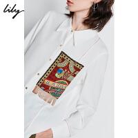 【2件4折到手价:239.6元】 Lily冬新款时髦复古撞色口袋流苏印花宽松中长款白衬衫女4924