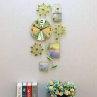 钟表客厅餐厅相框家用挂钟简约田园卧室静音石英钟现代时尚创意 24英寸