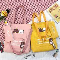 韩国补习袋小学生美术袋儿童包包单肩斜挎包休闲补课手提袋M女童