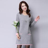 秋冬韩版毛衣女套头修身中长款加厚显瘦针织连衣裙打底羊绒羊毛衫