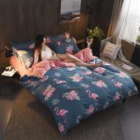 A纯棉B珊瑚绒四件套全棉水晶绒法莱绒被套2米1.5m1.8床单床笠床上用品
