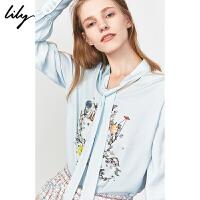 【限时一口价269元】全场叠加100元券 Lily2019冬新款女装复古撞色印花系飘带领宽松套头长袖雪纺衫8943
