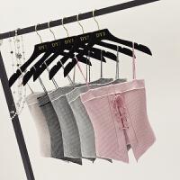 夏季外穿短款上衣百搭针织小背心修身无袖打底衫性感格子吊带女装