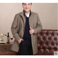 韩版显瘦中长款立领男士风衣男加厚外套商务休闲中老年加肥大码