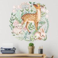可移除墙贴*兔子花环客厅卧室房门温馨治愈北欧墙壁装饰贴纸