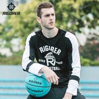 准者秋冬圆领套头长袖T恤运动休闲篮球跑步训练假两件卫衣
