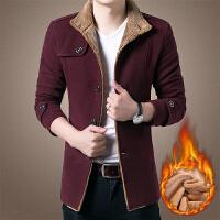 冬装毛呢外套青年男士加厚呢子夹克加绒新款韩版潮中长款立领商务