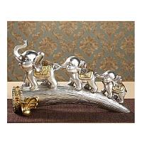 创意大象家居饰品摆件欧式客厅博古架酒柜玄关软装小象工艺品 银色 象牙三连象 银
