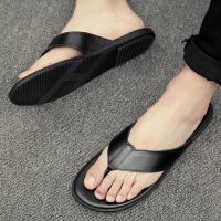 夏季男士人字拖真皮夹脚凉拖鞋防滑凉鞋韩版沙滩鞋休闲男鞋个性潮