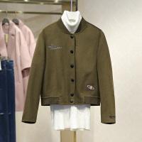 双面呢大衣冬装新款棒球领短款单排扣长袖毛呢外套