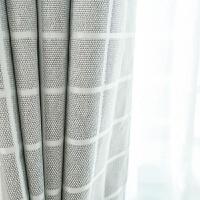 棉麻窗帘成品大格子提花遮光布料卧室落地窗现代客厅挂钩窗帘