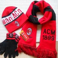 冬季足球用品纪念品AC米兰球迷冬天季毛线保暖帽子围巾围脖三件套 柔软舒适