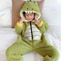 儿童珊瑚绒连体睡衣秋冬季男童小童卡通加厚加绒法兰绒宝宝家居服