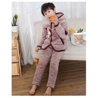 冬季儿童睡衣男童女童夹棉居家服套装卡通熊大加厚保暖居家服套装