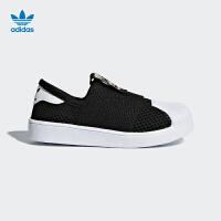 阿迪达斯(adidas)新款童鞋男童女童三叶草网眼休闲鞋DB0922 一号黑/白
