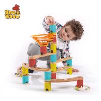 儿童弹珠轨道玩具3-6周岁拼装木制女孩1-2岁宝宝早教益智滚珠积木 新