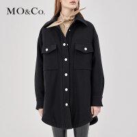 MOCO中长款衬衫毛呢大衣加厚外套女新款MA183COT115 摩安珂